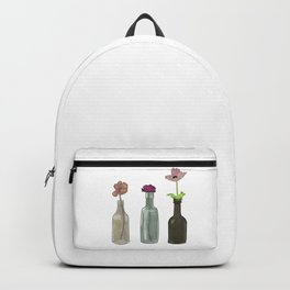 Flowers in Glass Bottles . Pastel Colors Backpack