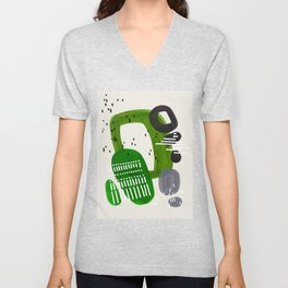 Fun Mid Century Modern Abstract Minimalist Olive Green Rings Grey Black Accent Unisex V-Neck