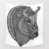buffalo Wall Tapestries featuring Tangled Buffalo by Cherry Creative Designs