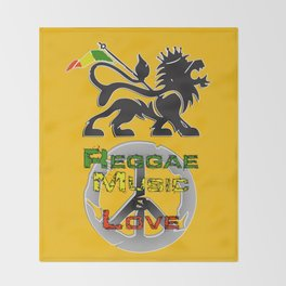 Reggae, Music & Love Throw Blanket