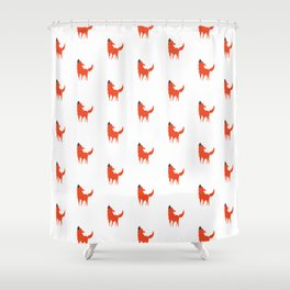 Red and White Dog pattern print Shower Curtain
