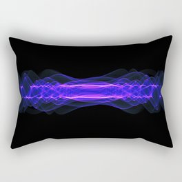 Plasma or high energy force concept. Blue-purple glowing energy waves on black Rectangular Pillow