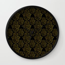 Gold Paisley Hamsa Hand pattern Wall Clock
