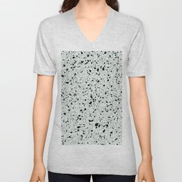 'Speckle Party' Mint Green Black White Dots Speckles Terrazzo Pattern Unisex V-Neck