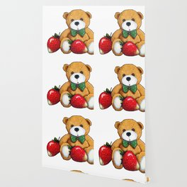 Teddy Bear With Strawberries, Illustration Wallpaper