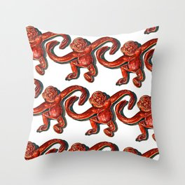 Monkeys ! Vintage Barrel of Monkeys  Throw Pillow