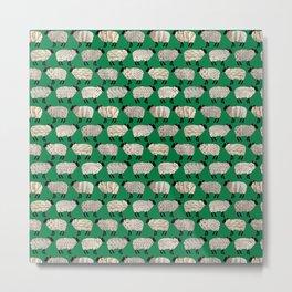 Wee Wooly Sheep in Aran Sweaters (shamrock green) Metal Print