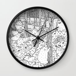Diurnal Animals of the Forest Wall Clock
