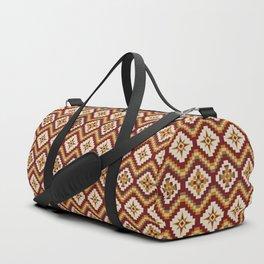 Tribal Pattern in Burgundy, Burnt Orange, Mustard Duffle Bag