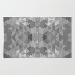 Black and White Fractal Geometric Pattern Rug
