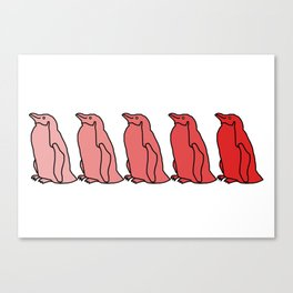 Waddle of Penguins in Red Tones Canvas Print