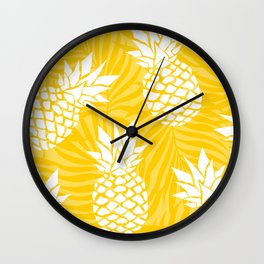 Bright Yellow, Summer, Pineapple Art Wall Clock