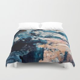 Sweetly: a bohemian, abstract work on paper in blue, pink, white, and gold Duvet Cover
