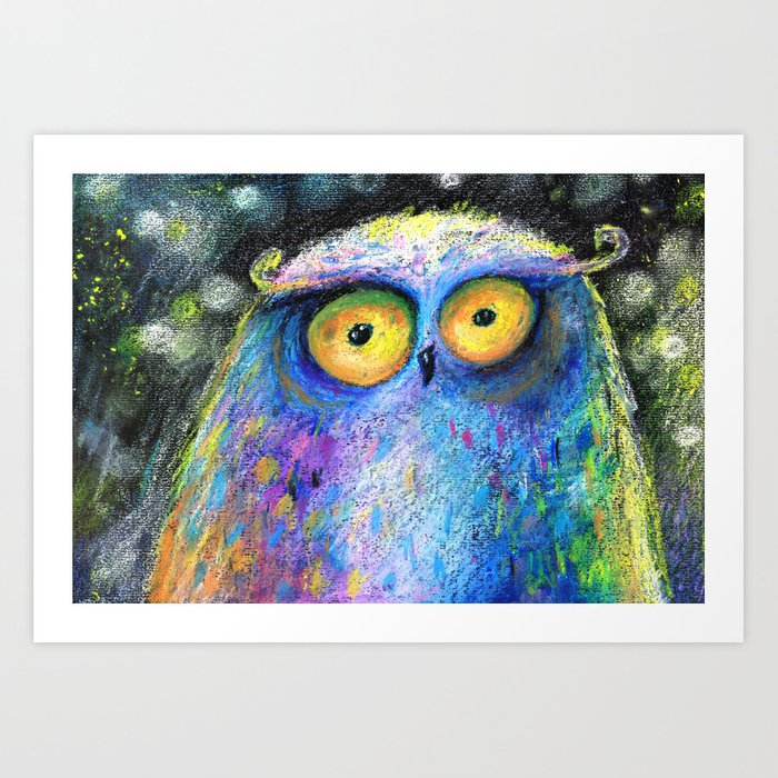deep night owl Art Print