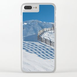 Wooden fence and its shadow, mountain Clear iPhone Case