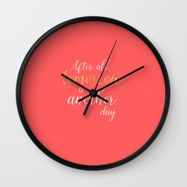 Coral and Gold Quotes - Tomorrow Is Another Day Wall Clock