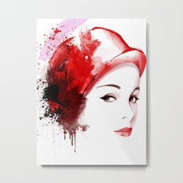 Beauty in red hat, Fashion Beauty, Fashion Painting, Fashion IIlustration, Vogue Portrait, #18 Metal Print