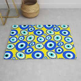Greek Eye Blue Yellow Pattern Rug