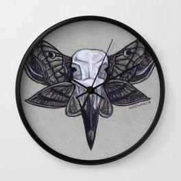 Crow Skull w/Moth Wings Wall Clock