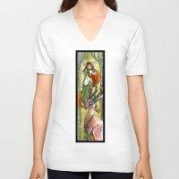 jackalope V-neck T-shirts featuring Jackalope by Mathilde Fontano