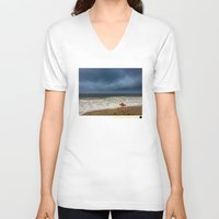 surfboard V-neck T-shirts featuring Orange Surfboard by PACIFIC OBLIVION