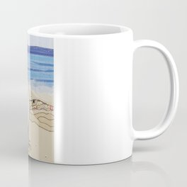 Embroidered Father and Daughter Beach Illustration Coffee Mug