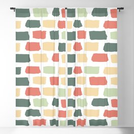 Hand Drawn Abstract Brick Wall Pattern - Red Green and Yellow Blackout Curtain