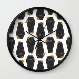 Floral Coffin Pattern Wall Clock