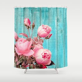 Pink Roses On Turquoise Blue Wood Shower Curtain
