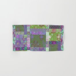 Lotus flower purple and lime green stitched patchwork - woodblock print style pattern Hand & Bath Towel