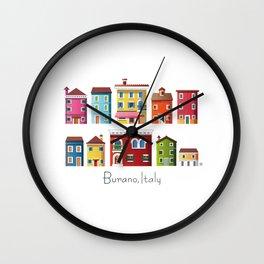 Burano, Italy (pattern) Wall Clock
