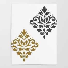 Scroll Damask Art I Gold & Grey on White Poster