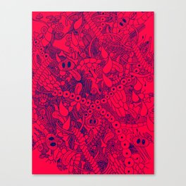 The Wild Things Salmon and Blue Canvas Print