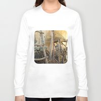 bicycles Long Sleeve T-shirts featuring Brooms and Bicycles  by Ethna Gillespie