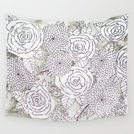 Floral Doodles in Gray Wall Tapestry