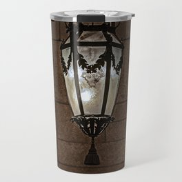 Hanging Lamp in a Dark Stone Chamber Travel Mug