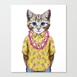 Portrait of Cat in summer shirt with Hawaiian Lei. Canvas Print