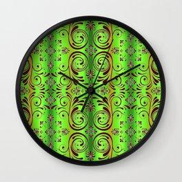 scroll ombre stripe bright colors Wall Clock
