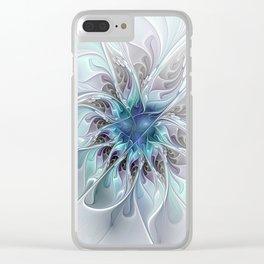 Flourish Abstract, Fantasy Flower Fractal Art Clear iPhone Case