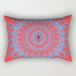 Summer Mandala Blue and Pink Rose Rectangular Pillow