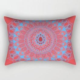 Summer Mandala Blue and Pink Rose Rectangular Pillow