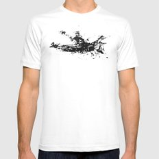Kayaker in the Fog White Mens Fitted Tee MEDIUM