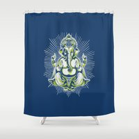 ganesh Shower Curtains featuring Ganesh by Scalifornian