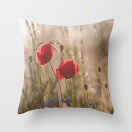 Poppy in sunrise my world Throw Pillow