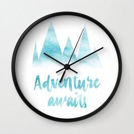 Adventure awaits blue watercolor Wall Clock