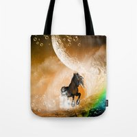 running Tote Bags featuring Running horse by nicky2342