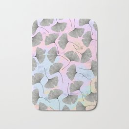 biloba on pastel pink and baby blue watercolor background Bath Mat