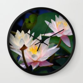 Water Lily neighbours and friends Wall Clock