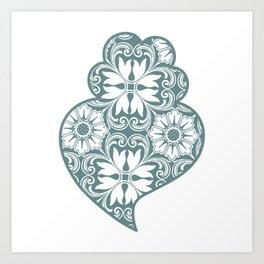 Traditionall portuguese Viana's heart and azulejo tiles background Art Print