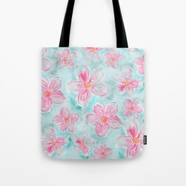 Hand painted teal fuchsia watercolor floral Tote Bag